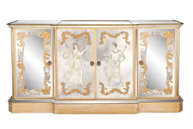 American Eglomise Mirrored Drinks Bar Cabinet