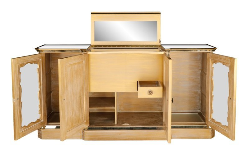 American Eglomise Mirrored Drinks Bar Cabinet - 2