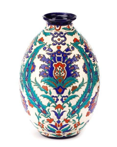 Boch Frères Glazed And Enameled Art Nouveau Vase