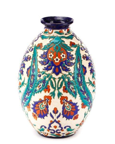 Boch Frères Glazed And Enameled Art Nouveau Vase - 4