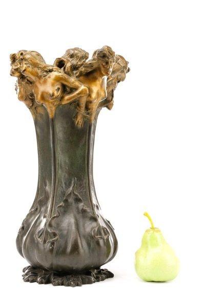 Art Nouveau Bronze Figural Vase, Signed Peyre - 10