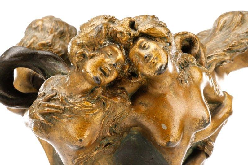 Art Nouveau Bronze Figural Vase, Signed Peyre - 2