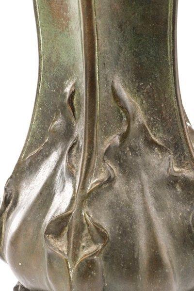 Art Nouveau Bronze Figural Vase, Signed Peyre - 4