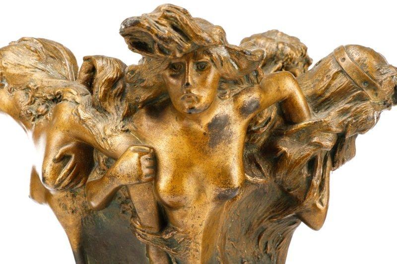 Art Nouveau Bronze Figural Vase, Signed Peyre - 5