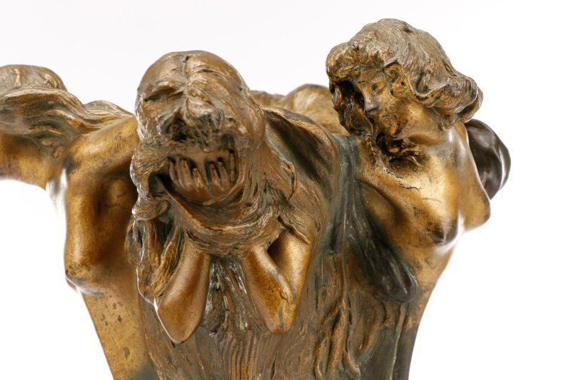 Art Nouveau Bronze Figural Vase, Signed Peyre - 6