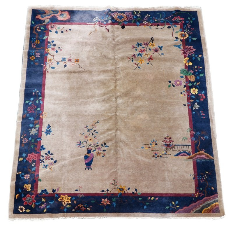 Antique Chinese Hand Woven Art Deco Rug 9' x 11' 5