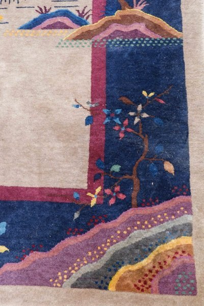 Antique Chinese Hand Woven Art Deco Rug 9' x 11' 5 - 2