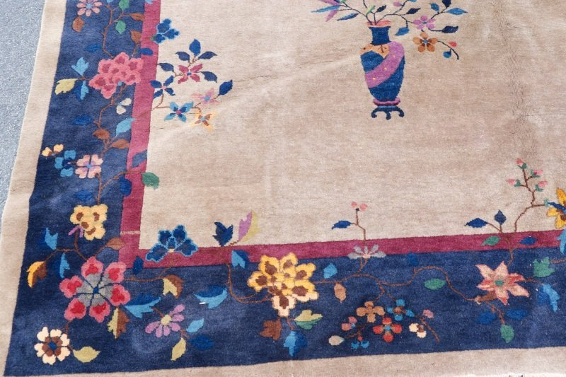 Antique Chinese Hand Woven Art Deco Rug 9' x 11' 5 - 3