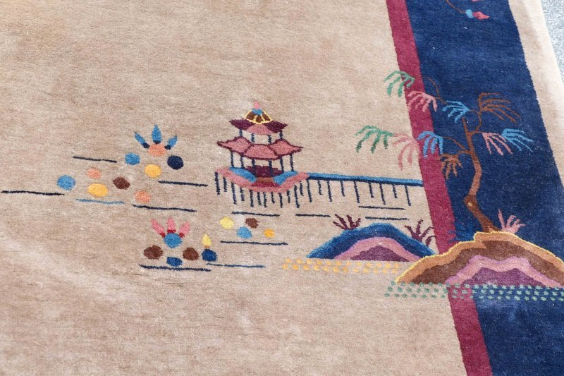 Antique Chinese Hand Woven Art Deco Rug 9' x 11' 5 - 4