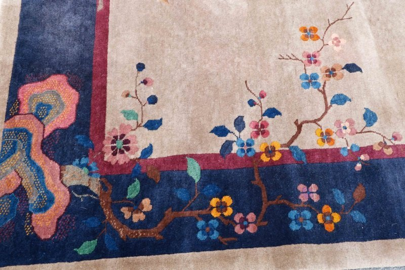 Antique Chinese Hand Woven Art Deco Rug 9' x 11' 5 - 5