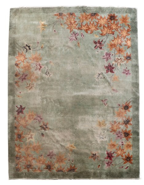 Hand Woven Chinese Art Deco Floral Motif Rug