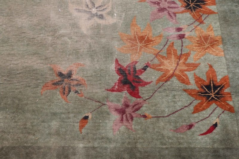 Hand Woven Chinese Art Deco Floral Motif Rug - 3