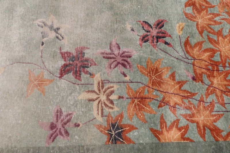 Hand Woven Chinese Art Deco Floral Motif Rug - 4
