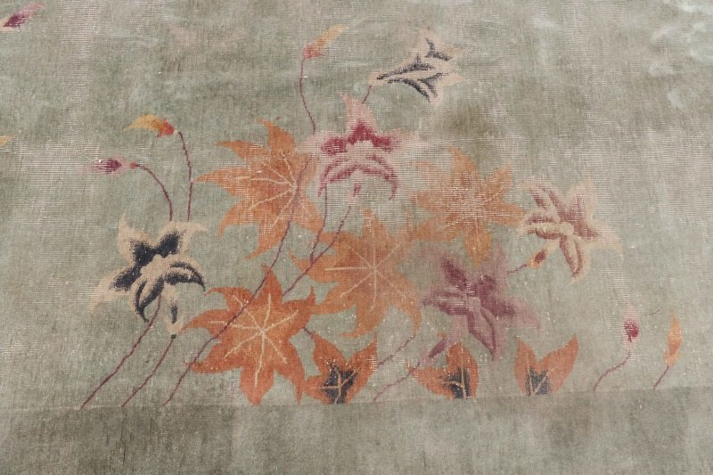 Hand Woven Chinese Art Deco Floral Motif Rug - 5