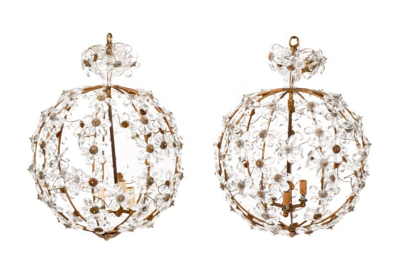 Pair of Bagues Style Crystal Ball Chandeliers