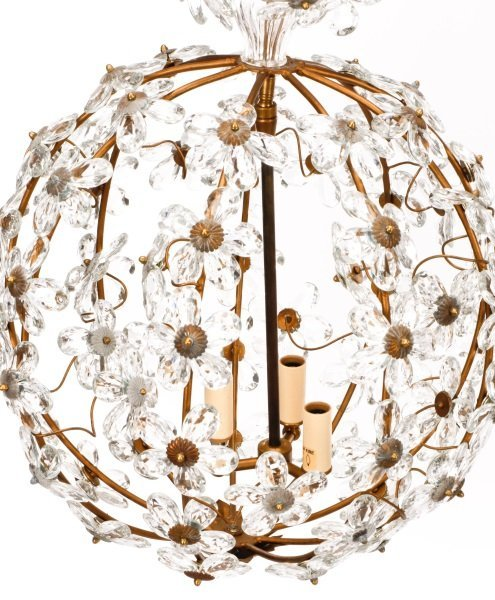 Pair of Bagues Style Crystal Ball Chandeliers - 2