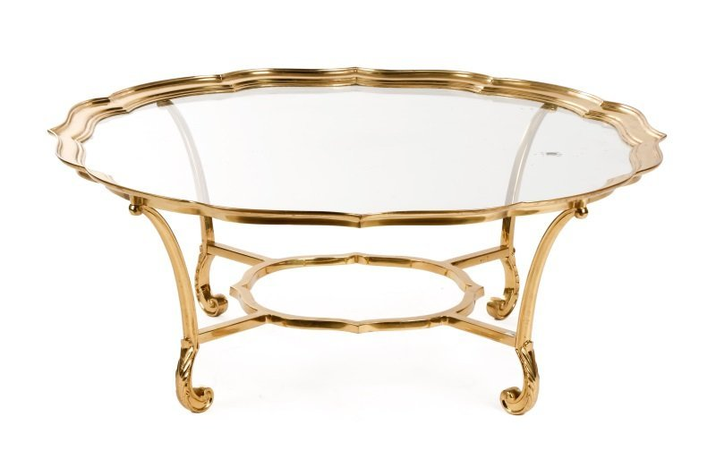 La Barge Brass & Glass Coffee Table, Model #8110