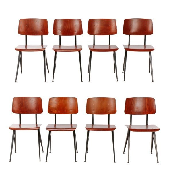 Set of 8 MCM Galvanitas S16 Molded Plywood Chairs