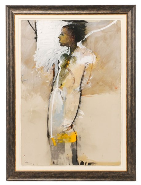 """T. L. Lange, """"Nude Woman In Profile"""", Mixed Media"""