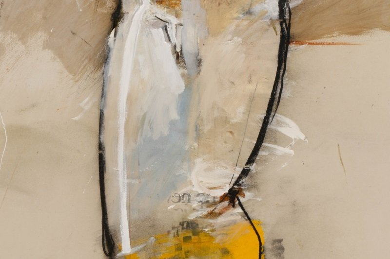 """T. L. Lange, """"Nude Woman In Profile"""", Mixed Media - 4"""