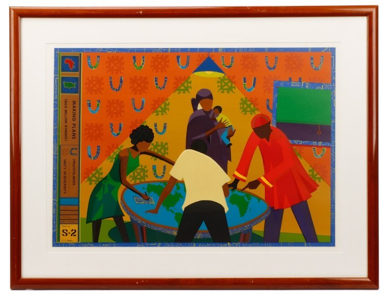 "John T. Riddle, ""Making Plans"", Serigraph, 1982"