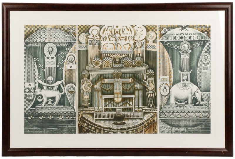 "John T. Biggers, ""Family Ark"", Lithograph Triptych"