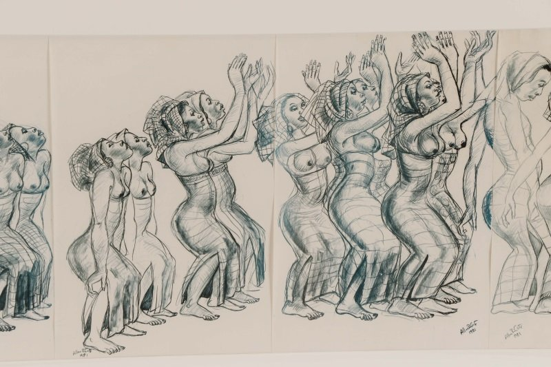 """Allan Crite, """"Dancers And Drummers"""", Collage, 1981 - 8"""
