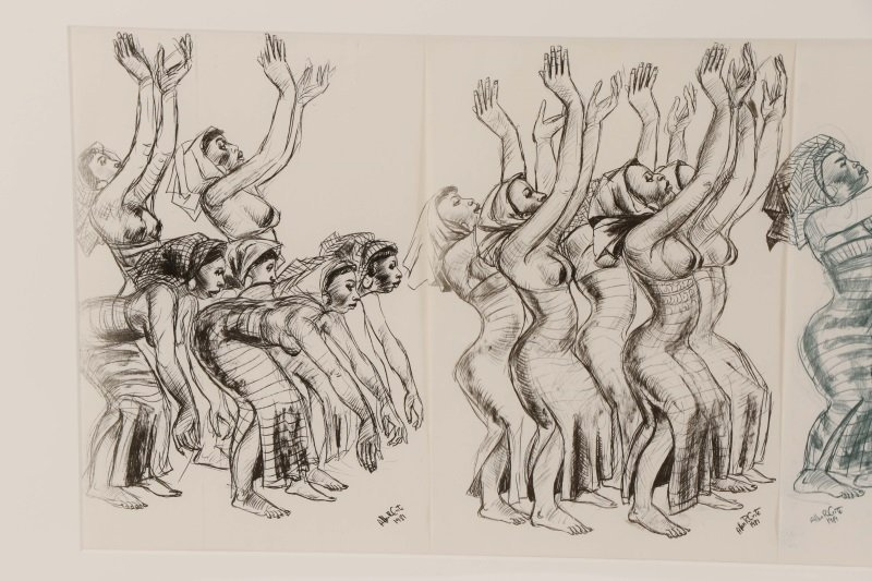 """Allan Crite, """"Dancers And Drummers"""", Collage, 1981 - 9"""
