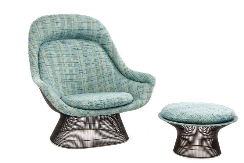 Warren Platner High-Back Lounge Chair & Ottoman
