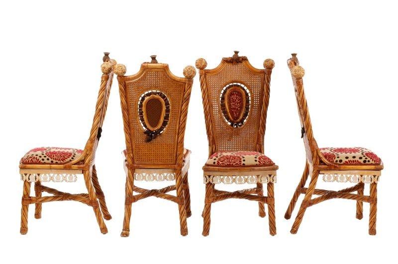 Set of 4 Mackenzie-Childs Wicker Side Chairs - 10