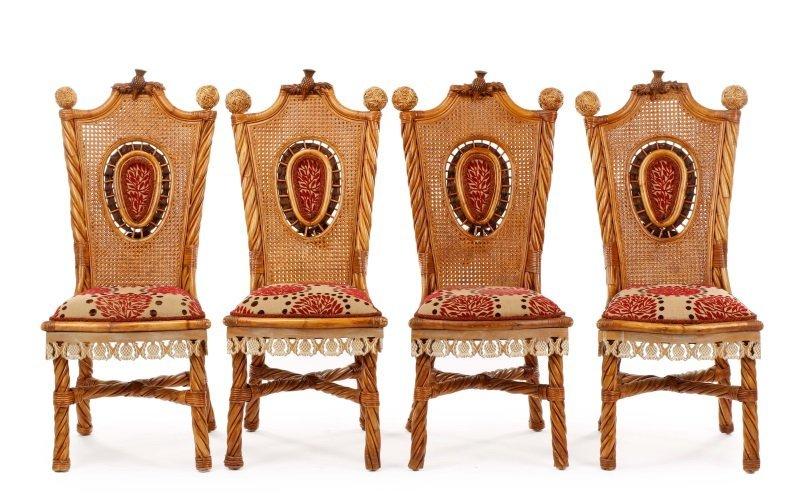 Set of 4 Mackenzie-Childs Wicker Side Chairs