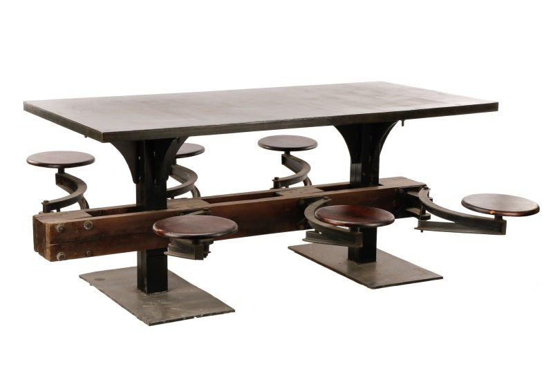 Industrial Iron, Wood 6 Seat Swing-Out Stool Table