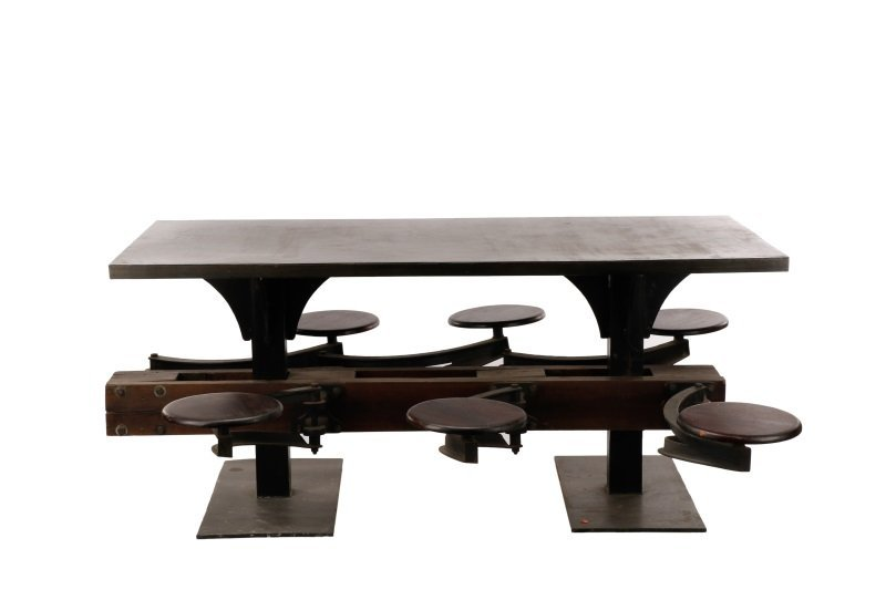 Industrial Iron, Wood 6 Seat Swing-Out Stool Table - 2