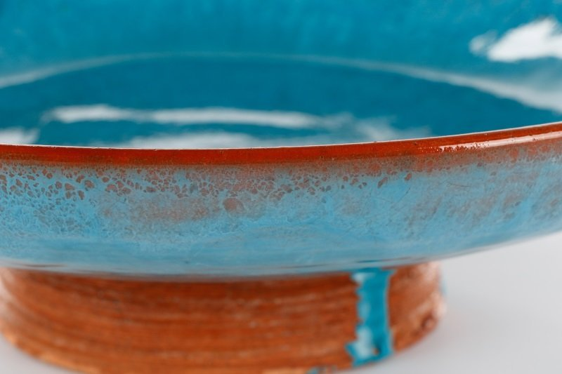 Blue Glazed Footed Ceramic Bowl, Laura Andreson - 4