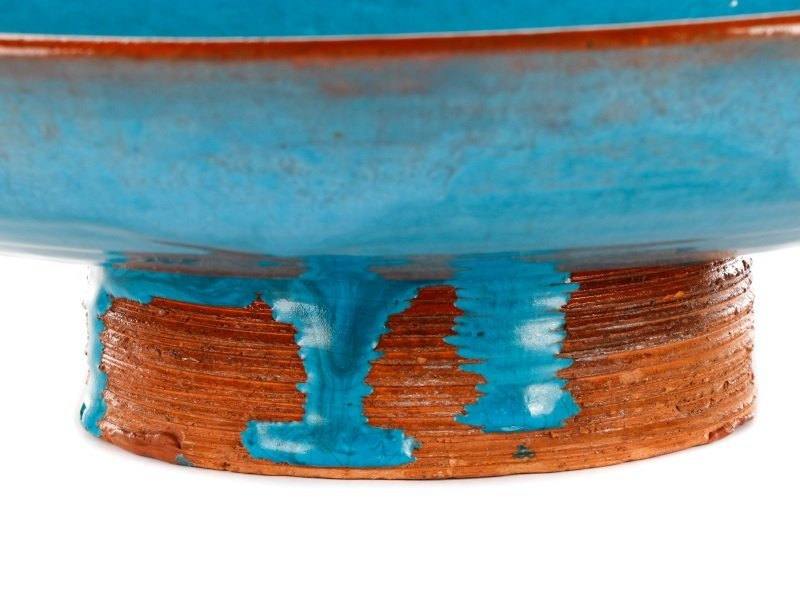 Blue Glazed Footed Ceramic Bowl, Laura Andreson - 8