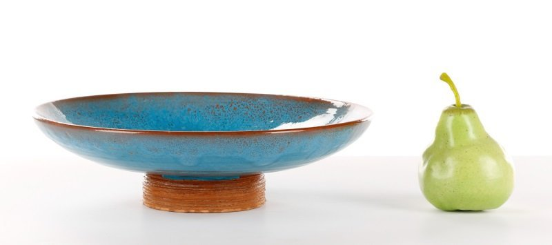 Blue Glazed Footed Ceramic Bowl, Laura Andreson - 9