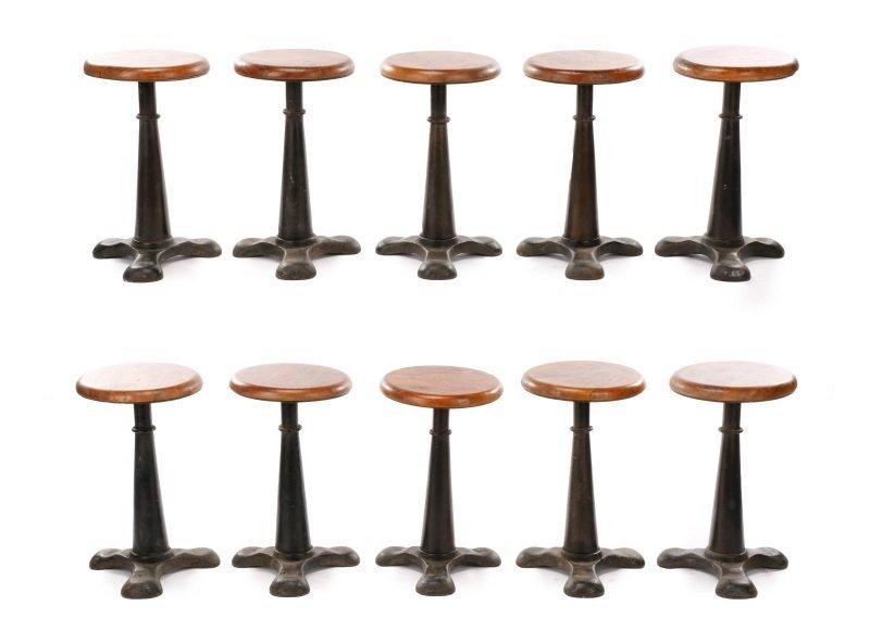 Set of 10 Stained Oak & Iron Adjustable Stools