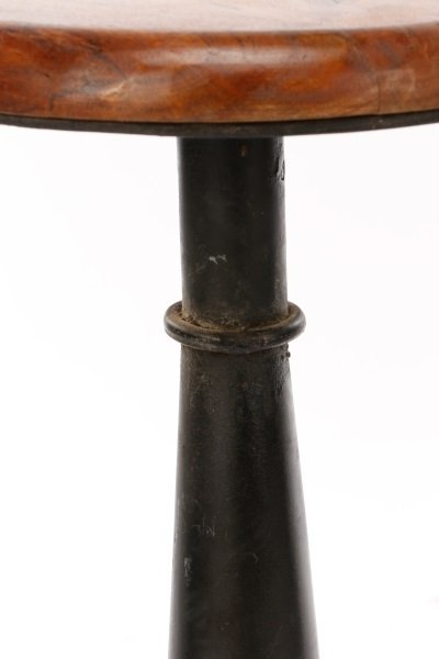 Set of 10 Stained Oak & Iron Adjustable Stools - 4