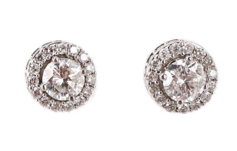 Pair of 14k White Gold & Diamond Earrings