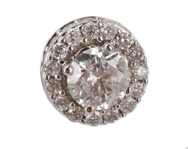 Pair of 14k White Gold & Diamond Earrings - 2