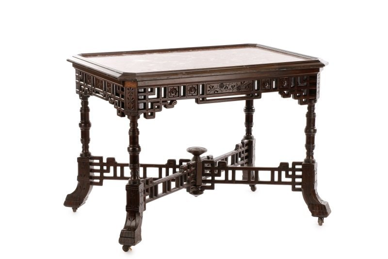 Scarce Aesthetic Movement Marble Top Center Table