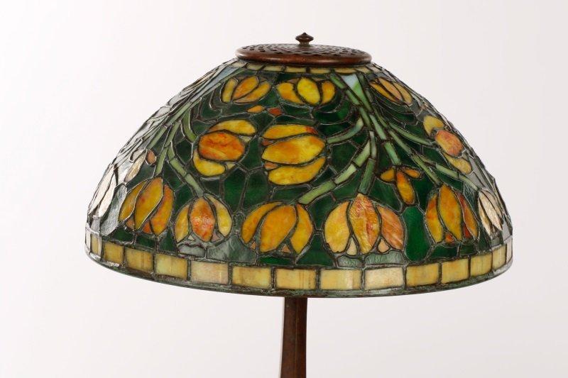 Tiffany Style Tulip Glass & Bronze Table Lamp - 2