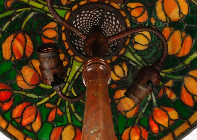 Tiffany Style Tulip Glass & Bronze Table Lamp - 3