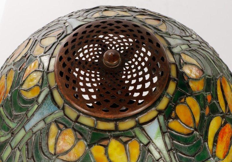 Tiffany Style Tulip Glass & Bronze Table Lamp - 5