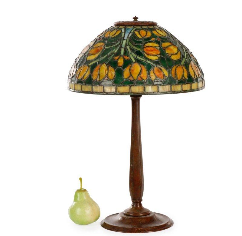 Tiffany Style Tulip Glass & Bronze Table Lamp - 7