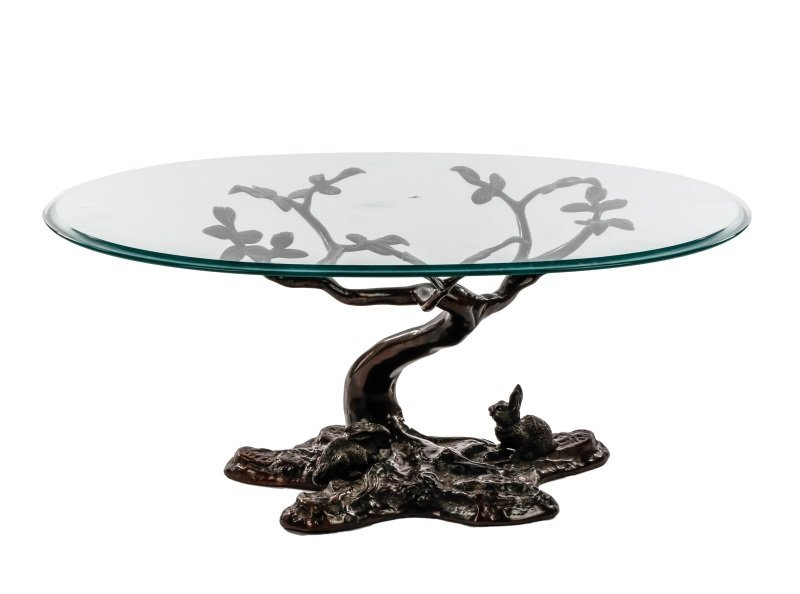 Bronze & Glass Sculptural Coffee Table, Rabbit