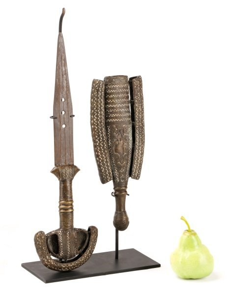 19th C. Tuareg Bronze Ceremonial Sword & Scabbard - 10