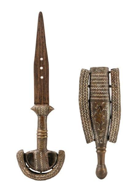 19th C. Tuareg Bronze Ceremonial Sword & Scabbard