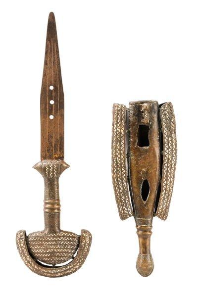 19th C. Tuareg Bronze Ceremonial Sword & Scabbard - 2
