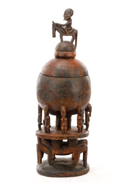 Dogon Carved Wood Medicine Pot in Three Sections